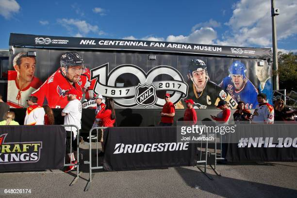 Fans line up to enter the NHL Centennial Fan Arena Museum prior to the Florida Panthers game against the Dallas Stars at the BBT Center on March 4...