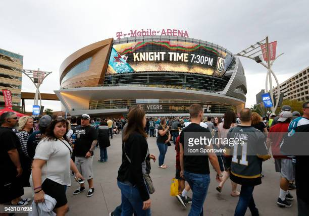 Fans line up to enter the TMobile Arena for the final home game of the regular season Saturday March 31 in Las Vegas Nevada The Vegas Golden Knights...