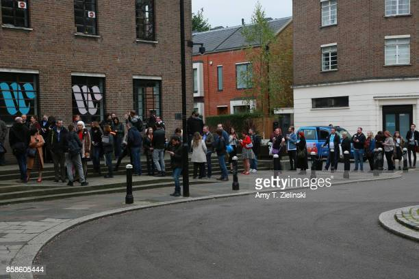 Fans line up to enter the Twin Peaks UK Festival 2017 at Hornsey Town Hall Arts Centre on October 7 2017 in London England Created by writer Mark...