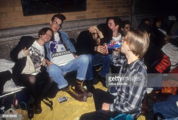 Fans lined up waiting to buy tickets for the Morrissey show at Carnegie Hall 1994 New York
