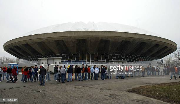 Fans lineup to enter a game between the Illinois Fighting Illini and the Indiana Hoosiers on February 6 2005 at the Assembly Hall at the University...