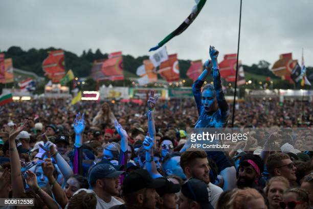 Fans listen as Michael Omari known as 'Stormzy' performs on the Other Stage during the Glastonbury Festival of Music and Performing Arts on Worthy...