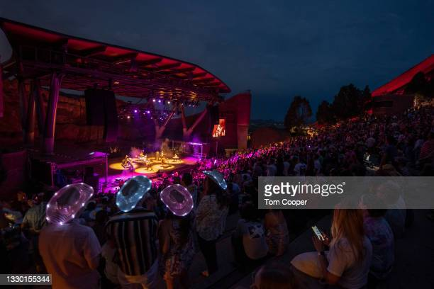 Fans listen as singer Yola opens for Orville Peck Summertime Tour at Red Rocks Amphitheatre on July 22, 2021 in Morrison, Colorado.