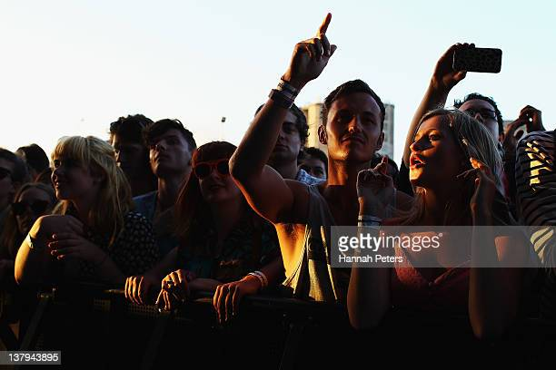 Fans listen to The Horrors perform on stage during the Laneway Music Festival at Silo Park on January 30 2012 in Auckland New Zealand