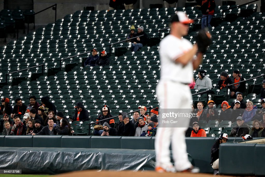 Fans look on as starting pitcher Dylan Bundy #37 of the Baltimore Orioles throws to a Toronto Blue Jays batter in the first inning at Oriole Park at Camden Yards on April 9, 2018 in Baltimore, Maryland.