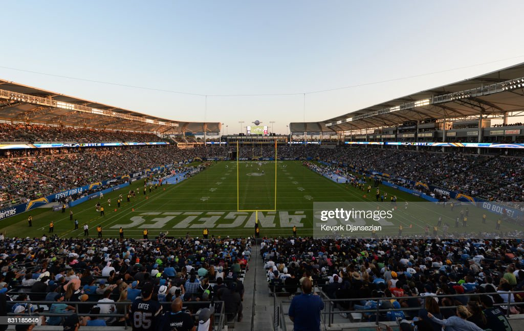 Fans look on as the Los Angeles Chargers make their StubHub Center debut against the Seattle Seahawks August 13, 2017, in Carson, California.
