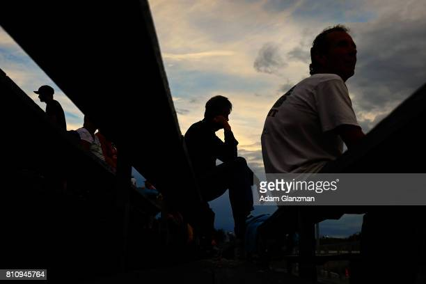 Fans look on before the NASCAR KN Pro Series East at Thompson Speedway Motorsports Park on July 8 2017 in Thompson Connecticut