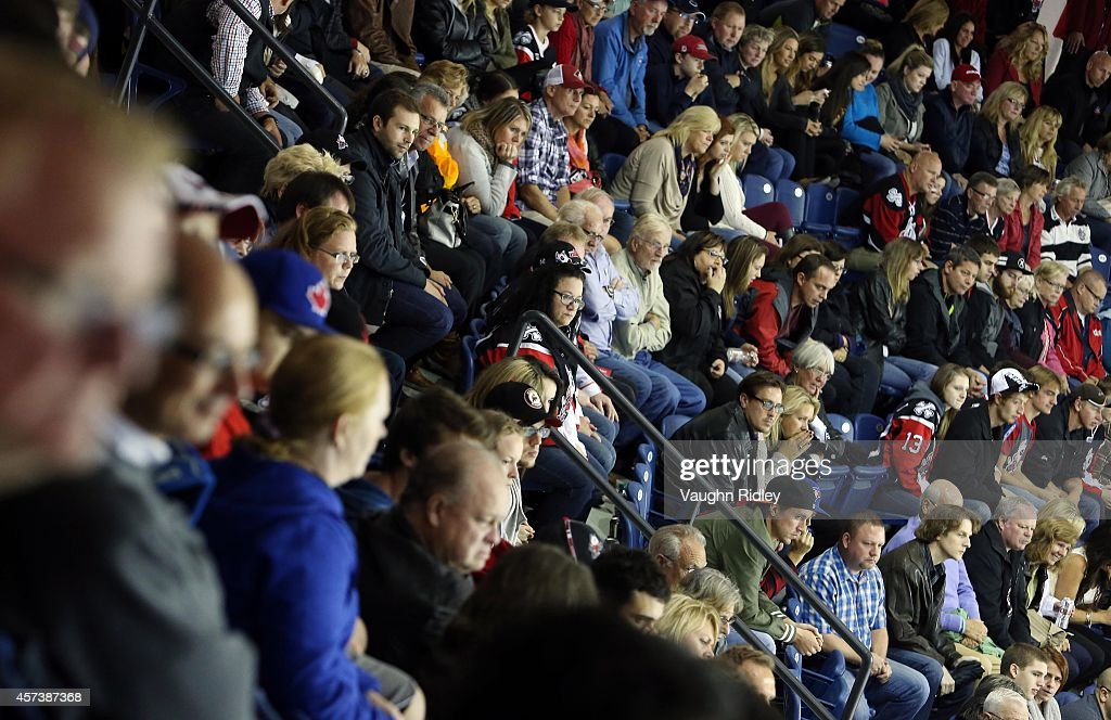 Fans look on during an OHL game against the Belleville Bulls at the Meridian Centre on October 16, 2014 in St Catharines, Ontario, Canada.