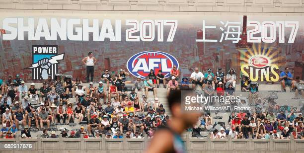 Fans look on during the 2017 AFL round 08 match between the Gold Coast Suns and Port Adelaide Power at Jiangwan Sports Stadium on May 14 2017 in...
