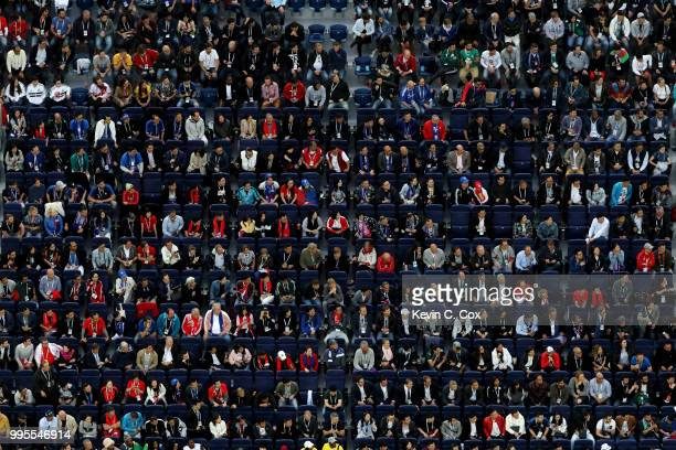 Fans look on during the 2018 FIFA World Cup Russia Semi Final match between Belgium and France at Saint Petersburg Stadium on July 10 2018 in Saint...