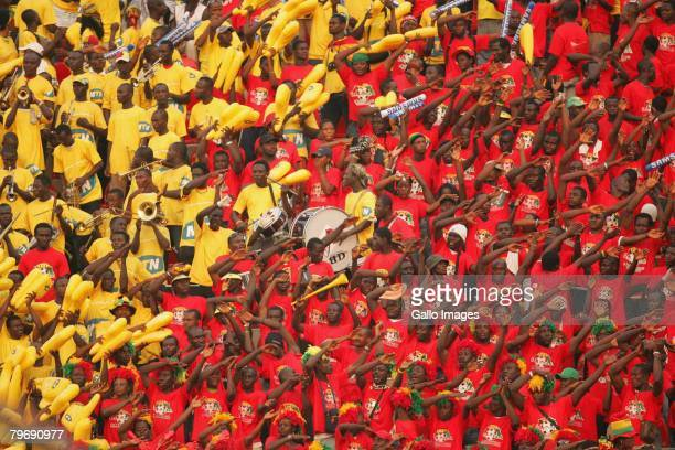 Fans look on during the AFCON Final between Egypt and Cameroon at the Ohene Djan stadium on February 10 2008 in Accra Ghana