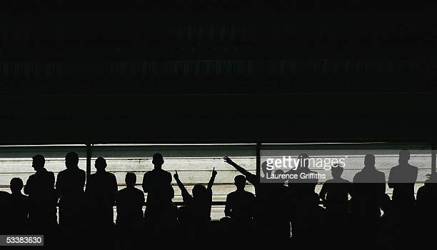 Fans look on during the Barclays Premiership match between Middlesbrough and Liverpool on August 13 2005 in Middlesbrough England