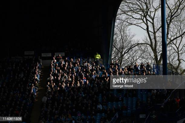 Fans look on during the Bet Championship match between Sheffield Wednesday and Aston Villa at Hillsborough Stadium on April 06 2019 in Sheffield...