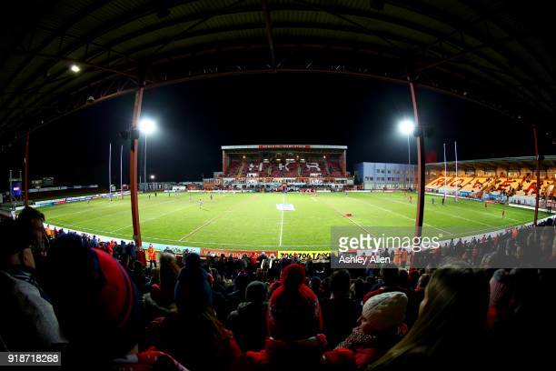 Fans look on during the BetFred Super League match between Hull KR and Catalans Dragons at KCOM Craven Park on February 15 2018 in Hull England