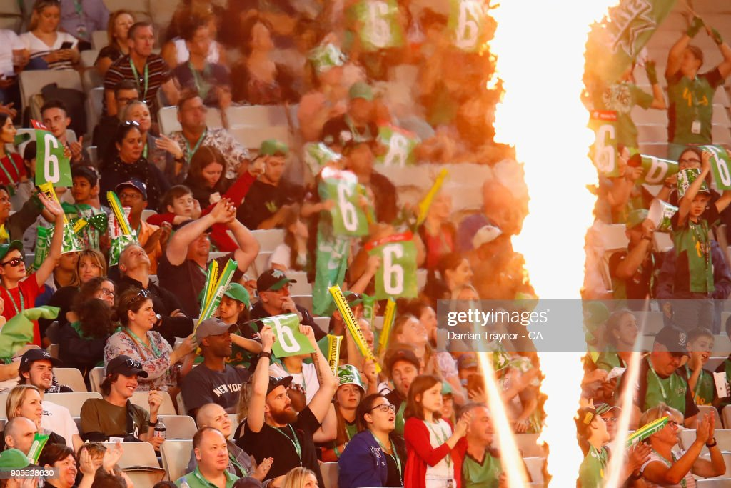 Fans look on during the Big Bash League match between the Melbourne Stars and the Sydney Sixers at Melbourne Cricket Ground on January 16, 2018 in Melbourne, Australia.