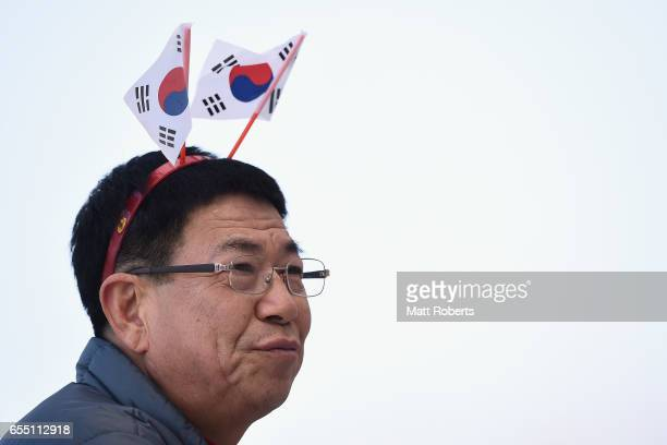 Fans look on during the BMW IBSF World Cup Bob Skeleton PyeongChang Presented by JIN AIR 2017 at Alpensia Sliding Centre on March 19 2017 in...