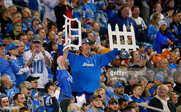 Fans look on during the game between the Detroit Lions and Chicago Bears at Ford Field on November 27 2014 in Detroit Michigan