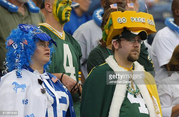 Fans look on during the game between the Green Bay Packers and the Indianapolis Colts at the RCA Dome on September 26, 2004 in Indianapolis, Indiana....