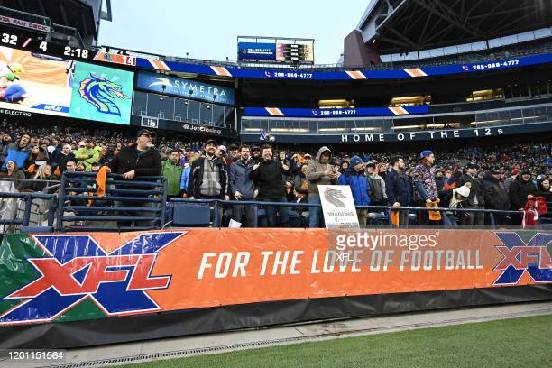 Fans look on during the game between the Tampa Bay Vipers and the Seattle Dragons at CenturyLink Field on February 15 2020 in Seattle Washington