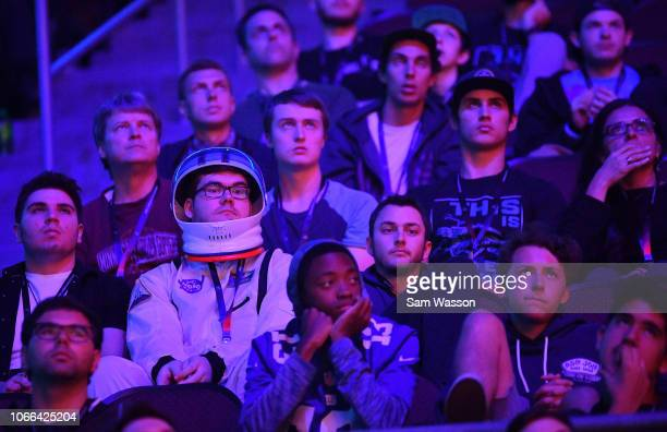 Fans look on during the lower bracket finals match of the Rocket League Championship Series World Championship between team Cloud9 and team We Dem...