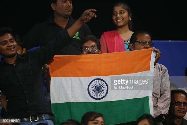 Fans look on during the match between India and Belgium on day nine of The Hero Hockey League World Final at the Sardar Vallabh Bhai Patel...