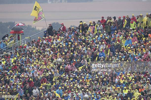 Fans look on during the MotoGP race during the MotoGp of Germany Race at Sachsenring Circuit on July 17 2016 in HohensteinErnstthal Germany