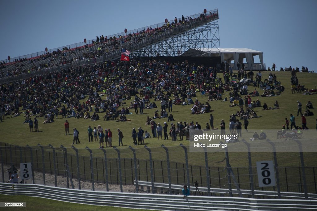 Fans look on during the MotoGP race during the MotoGp Red Bull U.S. Grand Prix of The Americas - Race at Circuit of The Americas on April 23, 2017 in Austin, Texas.