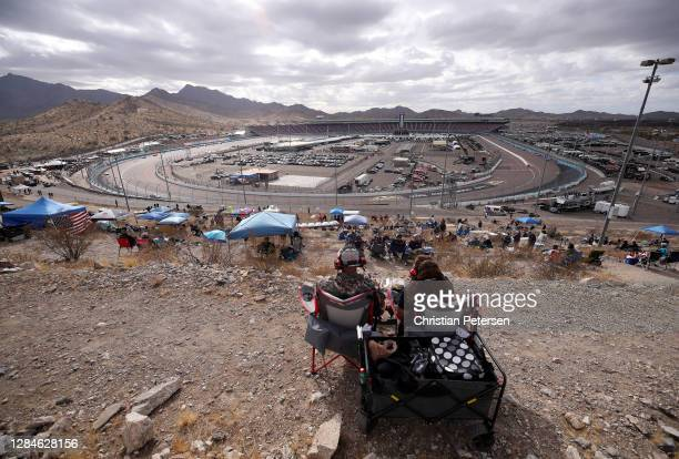 Fans look on during the NASCAR Cup Series Season Finale 500 at Phoenix Raceway on November 08, 2020 in Avondale, Arizona.