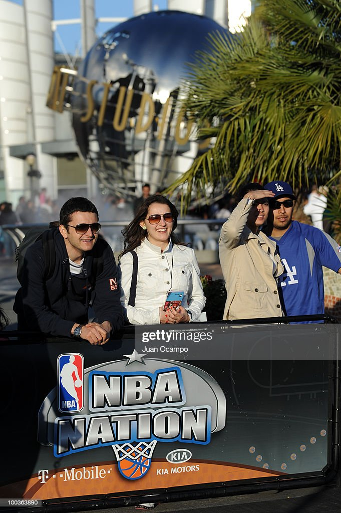Fans look on during the NBA Nation Tour on May 23, 2010 at Universal City Walk in Universal City, California.