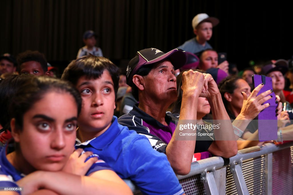 Fans look on during the NRL Fan Day at Luna Park on September 28, 2017 in Sydney, Australia.