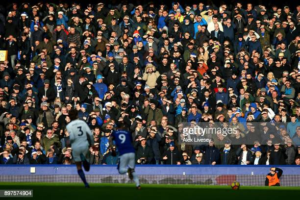 Fans look on during the Premier League match between Everton and Chelsea at Goodison Park on December 23 2017 in Liverpool England