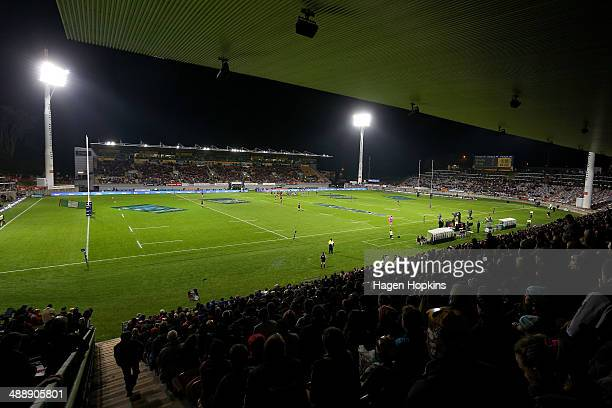 Fans look on during the round 13 Super Rugby match between the Chiefs and the Blues at Yarrow Stadium on May 9 2014 in New Plymouth New Zealand