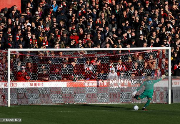 Fans look on during the Sky Bet Championship match between Brentford and Middlesbrough at Griffin Park on February 08 2020 in Brentford England