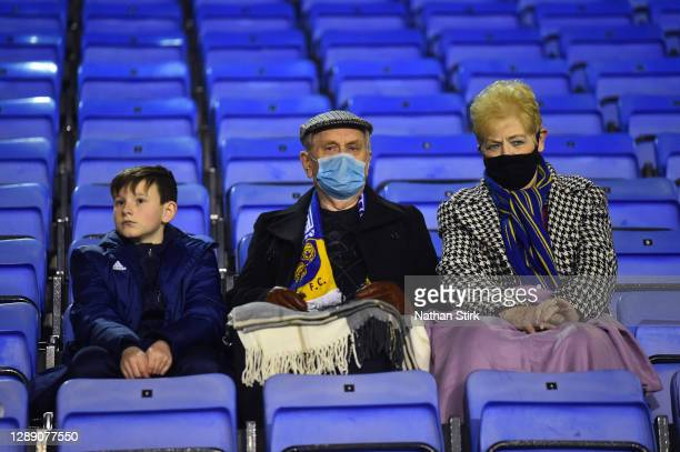 Fans look on during the Sky Bet League One match between Shrewsbury Town and Accrington Stanley at Montgomery Waters Meadow on December 02, 2020 in...