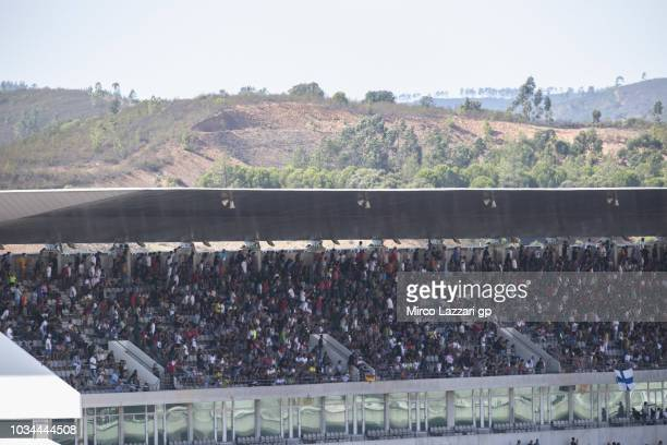 Fans look on during the Superbike race 2 during the Motul FIM Superbike World Championship - Race 2 at Algarve Motor Park on September 16, 2018 in...