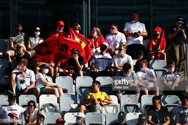 Fans look on from a grandstand during the F1 Grand Prix of Russia at Sochi Autodrom on September 27 2020 in Sochi Russia