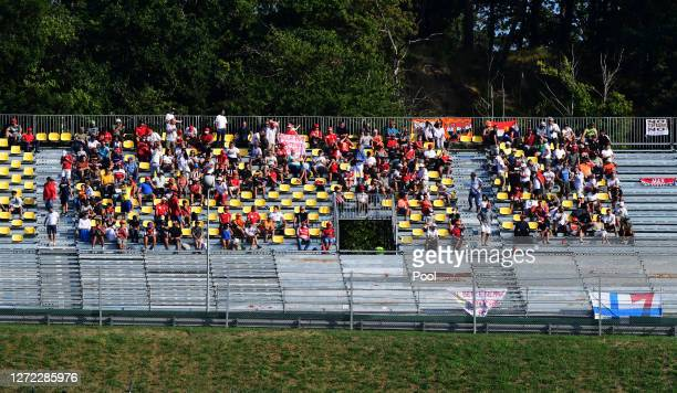 Fans look on from a grandstand during the F1 Grand Prix of Tuscany at Mugello Circuit on September 13 2020 in Scarperia Italy