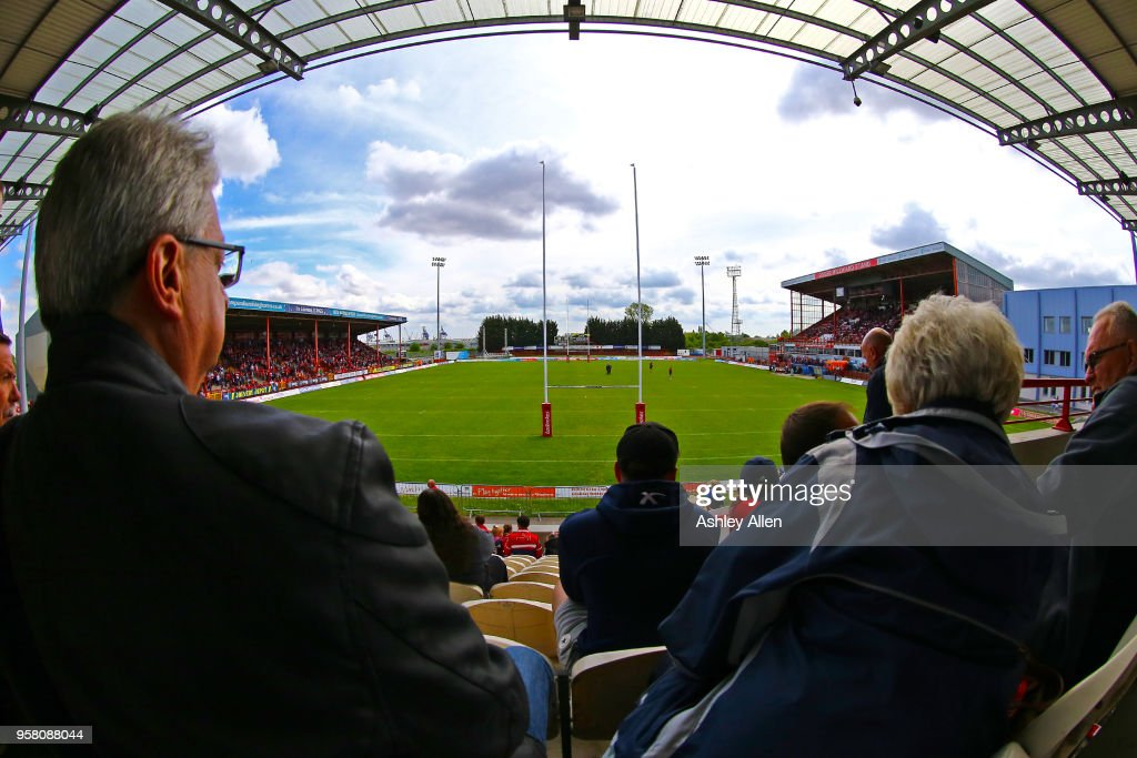 Fans look on from the Colin Hutton Stand during round six of the Ladbrokes Challenge Cup at KCOM Craven Park on May 13, 2018 in Hull, England.