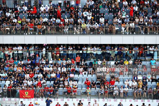 Fans look on from the grandstand during the F1 Grand Prix of Russia at Sochi Autodrom on September 27, 2020 in Sochi, Russia.