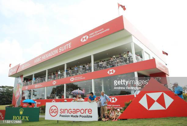 Fans look on from the HSBC Hexagon Suite during the third round of the HSBC Women's World Championship at Sentosa Golf Club on March 02, 2019 in...