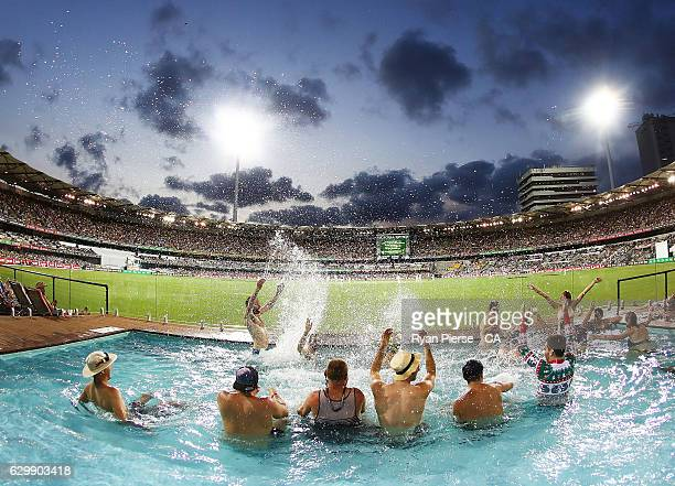 Fans look on from the Pool Desk during day one of the First Test match between Australia and Pakistan at The Gabba on December 15 2016 in Brisbane...