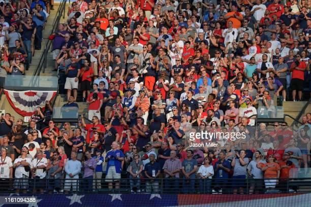 Fans look on from the stands during the 2019 MLB AllStar Game at Progressive Field on July 09 2019 in Cleveland Ohio