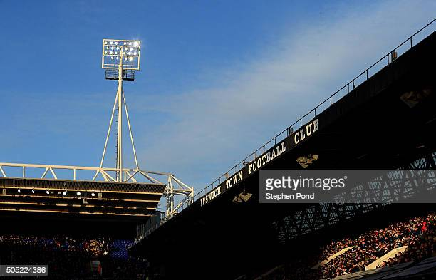 Fans look on from the stands during the Sky Bet Championship match between Ipswich Town and Preston North End at Portman Road on January 16 2016 in...