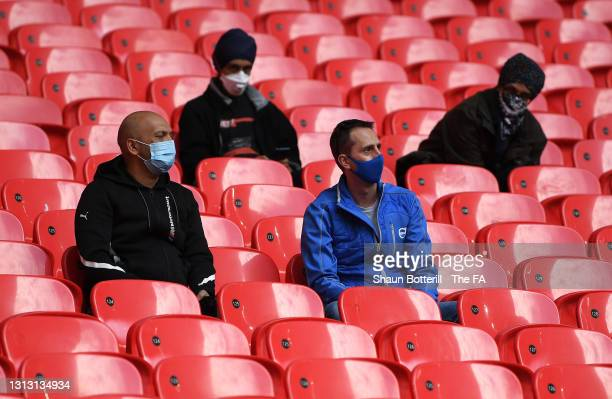 Fans look on from the stands prior to the Semi Final of the Emirates FA Cup between Leicester City and Southampton FC at Wembley Stadium on April 18,...