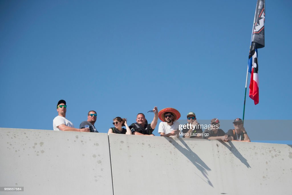 Fans look on in paddock during the MotoGp of France - Previews on May 17, 2018 in Le Mans, France.