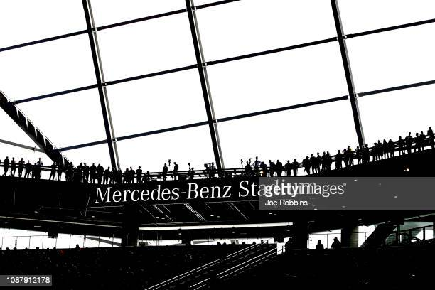 Fans look on in the first quarter during the ChickfilA Peach Bowl between the Michigan Wolverines and the Florida Gators at MercedesBenz Stadium on...