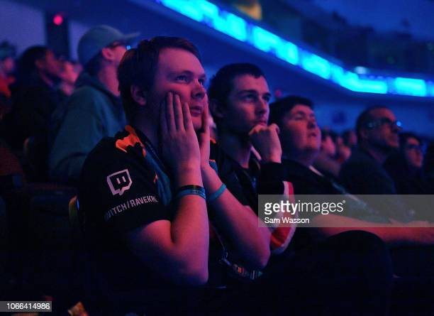 Fans look on nervouslyl during the grand finals match of the Rocket League Championship Series World Championship between team Dignitas and team...