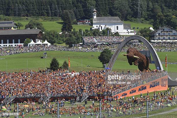 Fans look on on the hill during the MotoGp race during the MotoGp of Austria Race at Red Bull Ring on August 14 2016 in Spielberg Austria