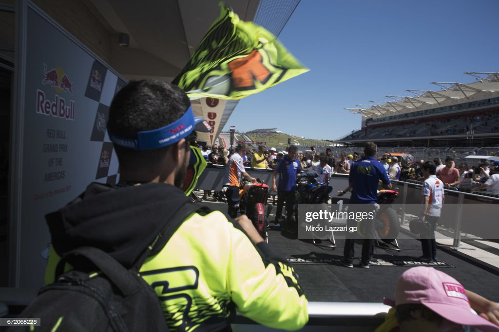Fans look on under the MotoGP podium during the MotoGP race during the MotoGp Red Bull U.S. Grand Prix of The Americas - Race at Circuit of The Americas on April 23, 2017 in Austin, Texas.
