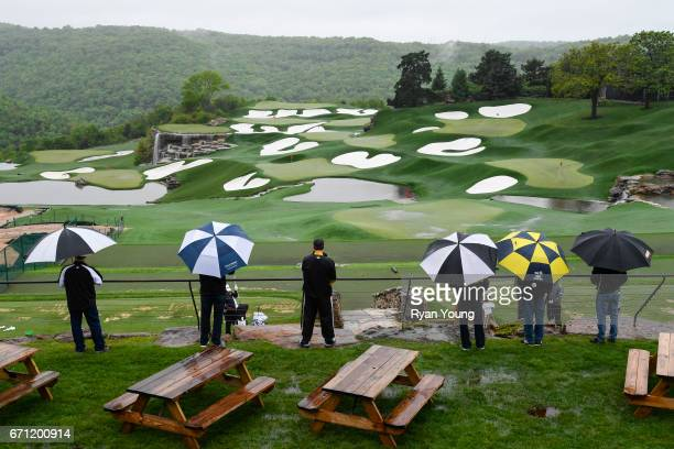 Fans look out at the driving range during the first round which was suspended due to weather of the PGA TOUR Champions Bass Pro Shops Legends of Golf...